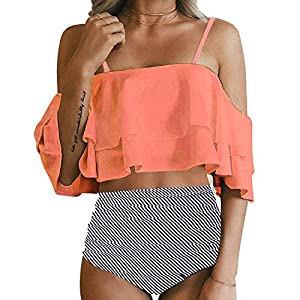 Tempt Me Women Two Piece Swimsuit High Waisted Off Shoulder Ruffled Bikini Set