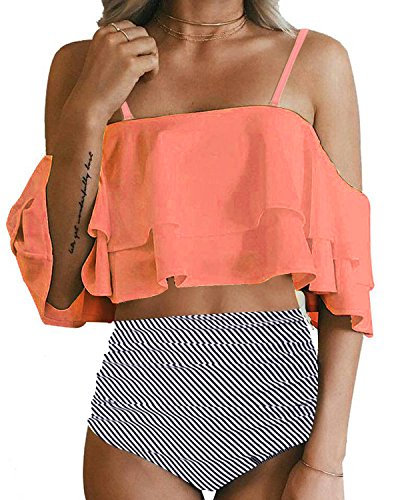 Tempt Me Women Two Piece Off Shoulder Ruffled Flounce Crop Bikini Top with Print Cut Out Bottoms Orange -