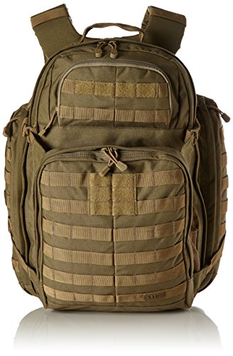 5.11 RUSH72 Tactical Backpack Large with 20 Compartments, MOLLE, SlickStick, Hydration Pocket, Comms Ready for Active Duty Military, Hunting, Recreation or Bug Out Bag - Style# 58602 - Sandstone Brown