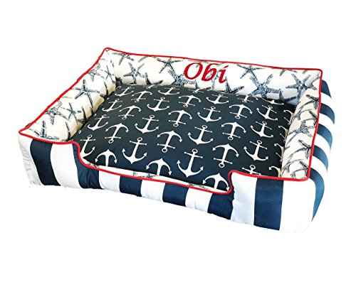 (Custom Pet Beds for you Dog or Cat by Sammy's Sew Shop - All Beds are Durable, Washable & Reversible with Removable Covers Made from Premium Cotton Fabrics - Hand Made in the USA)