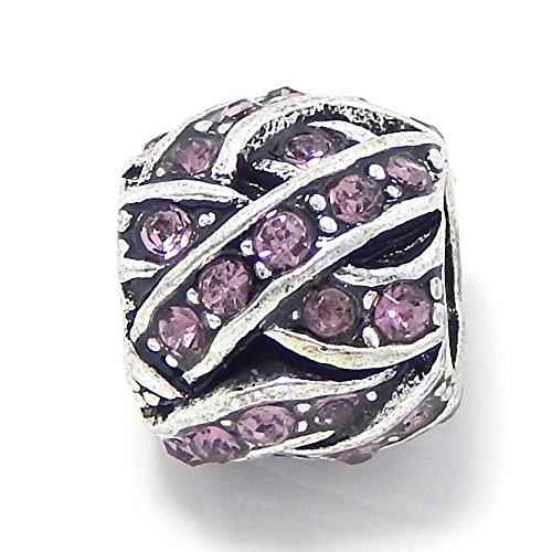 PJewelry Barrel Style Weaved Light Purple Amethyst Crystals Bead Compatible with European Snake Chain Bracelets (Amethyst Barrel)