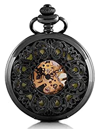 Carrie Hughes Luminous dial Pocket Watch Steampunk mechanical Skeleton Hand-wind metal black CHPW23
