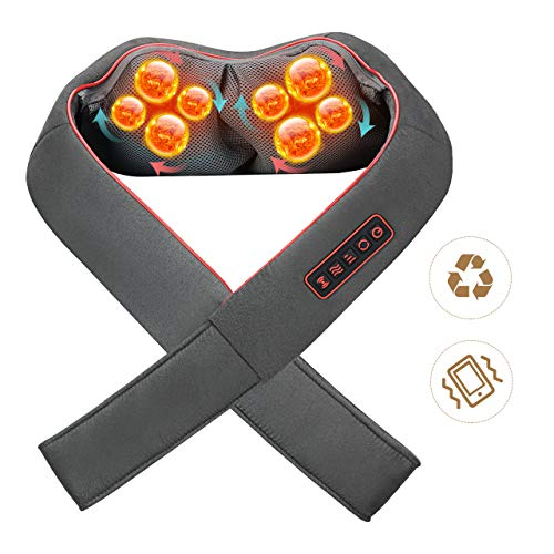 Habor Shiatsu Neck Massager with Heat, 3D Vibration Back Massager with Speed Control, Adjustable Intensity Electric Back Massager, Deep Kneading Shoulder Massager for Neck and Back, Foot Massager