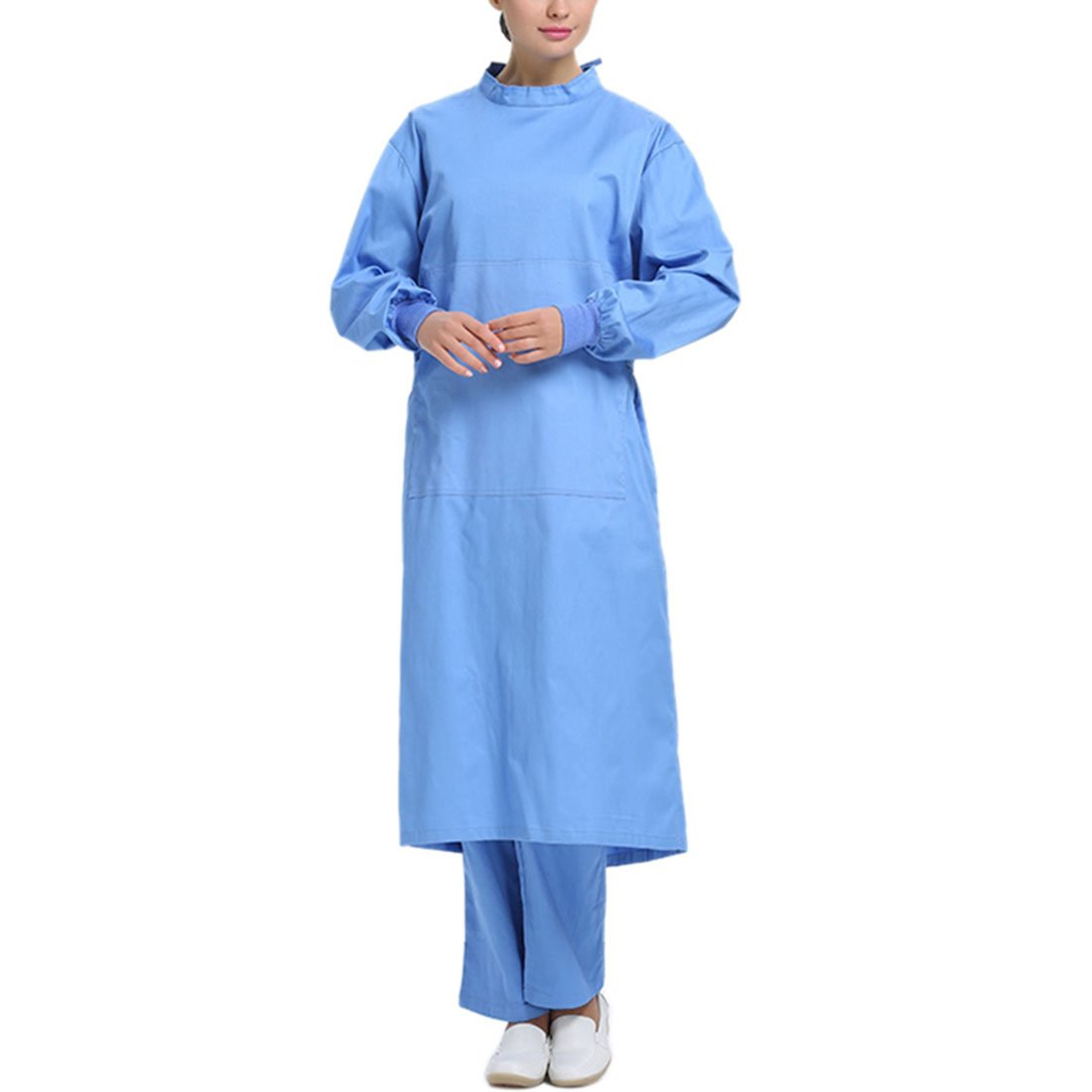 Pinji Surgical Gown Semi-coated Cotton Surgical Clothes High Temperature Resistance Workwear for Hospital Blue(Women) L