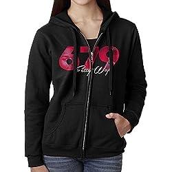 KOBT Women's Fetty Wap 679 Full Zip Sweatshirt Jackets Black Size XL