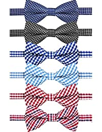 Boys Toddler Kids Baby Plaid Pre-tied Wedding Bow Tie With Adjustable Neck Strap Dog Cat Bowtie Pack of 6