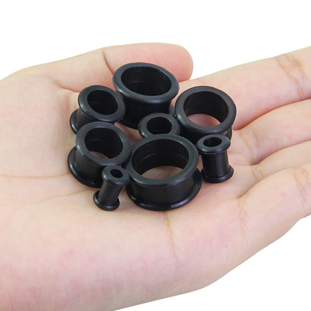 Kbnian 8 Pares de Expansor de Silicona de Túnel Oreja Dilatador de Oreja para Piercing de Oreja y Cuerpo Ultradelgado Doble Tornillo Acampanado Negro