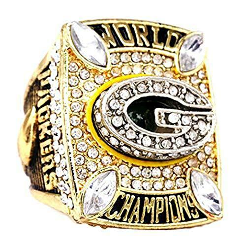 YIYICOOL 6pcs + Wooden Box Set 1961 1965 1966 1967 1996 2010 Green Bay Packers Championship Ring Size 11 Fan Men Gifts (2010 Green -