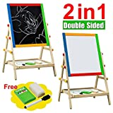 2 in 1 Cute Smart Kids Children Wooden Easel Chalk Drawing Writing Board Black/White