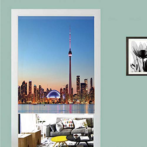 Pearl Blue Toronto (3D printed Magic Stickers Door Curtain,Modern,Canadian Skyline Toronto City with Lake Panorama at Evening Urban Scenery Decorative,Light Blue Cinnamon ,Privacy Protect for Kitchen,Bathroom,Bedroom(1)