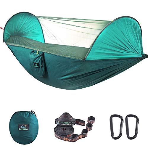 CAMDEA Camping Hammock with Mosquito Net, Ultra Lightweight Portable Hammock, Single Double Hammock with Bug Net, Windproof Hammock Tent Swing for Sleeping, Travel, Outdoor