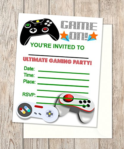 Amazoncom Video Game Fill In Blank Invitations Flat Cards Set Of