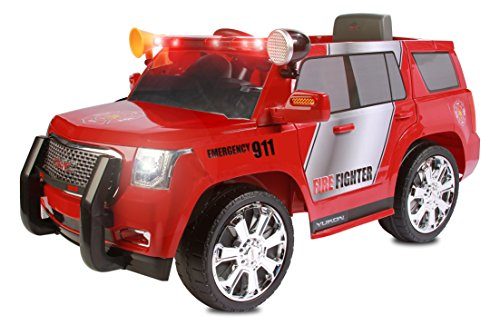 Rollplay 6 Volt GMC Yukon Denali Fire Rescue Toy, Battery-Powered Kid's Ride on Car, Red