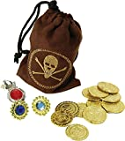 Pirate Caribbean Fancy Party Fake Coins & Jewellery Pouch Loot Bag Treasure Prop