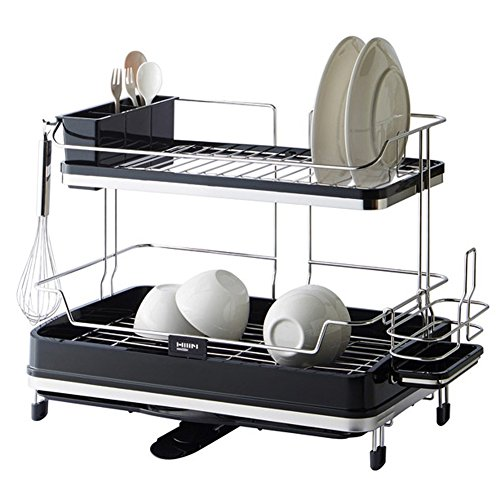 Sink Dish Drying Rack Two Tier Shelf Liner Dish Holder Dish
