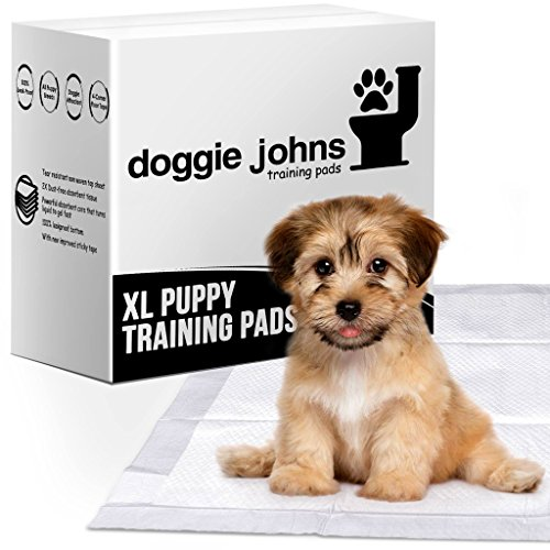 Doggie Johns Extra Large Premium Puppy Training Pads | Super Absorbent - Odor Neutralizer - Dog Attractant - Improved Floor Tape | 40 Count XL (24inx35in)