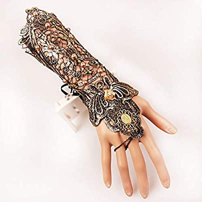 Nuofake Gloves Bracelet Gloves Lace Bracelet Steampunk Slave Wristband Ring Bracelet Non-slip Gloves Gothic Halloween Wedding Accessories Pair Estimated Price £21.47 -