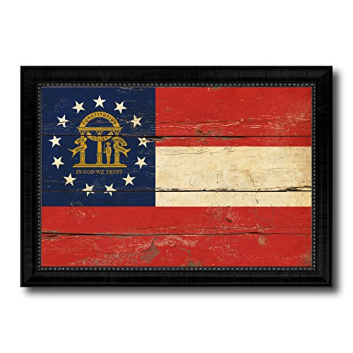 (Georgia State Flag Vintage Canvas Print with Black Picture Frame Gift Ideas Home Decor Wall Art Decoration, 21