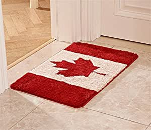 "USIX Machine-Washable Superfine Fiber Rectangle Country Flag Rug Anti-Slip TPE Backing Kithen Rug, Bedroom Rug, Entrance Rug, Washroom Rug, Doormat, Canada, 31.5""x47.2"""