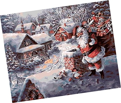 Wowdecor Paint by Numbers Kits for Adults Kids, Number Painting - Winter Christmas, Santa Claus on the Snow Cabin 16x20 inch (Frameless)