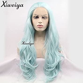 Synthetic None-lacewigs Sylvia Half Handmade High Resistant Fiber Long Body Wave Ombre Green Synthetic Lace Front Wigs For White Women Nature Hair High Resilience