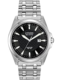 Men's Eco-Drive Stainless Steel Dress Watch with Date, BM7100-59E