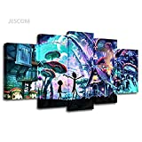 5 Panels Canvas Painting Rick And Morty poster HD Print on Canvas Wall Art Painting Modern Home Decor Picture For Living Room Chirstmas Decor Gifts (no frame, 30x50cmx2,30x70cmx2,30x80cmx1)