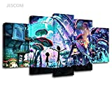 5 Panels Canvas Painting Rick And Morty Wall Art Painting Modern Home Decor Picture For Living Room Framed Ready to Hang (Blue With Wooden Frame, 40x60cmx2,40x80cmx2,40x100cmx1)