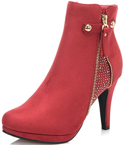 Dream Pair Women's Cecile Chic Detailed Rhinestone Stud Embellishment Platform High Heel Shoes Booties (Red Women Boots)