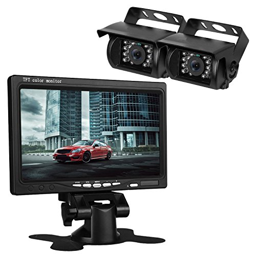 iStrong Vehicle 2 x Backup Cameras Parking Assistance System Ir Night Vision Waterproof Rear View Camera + 7