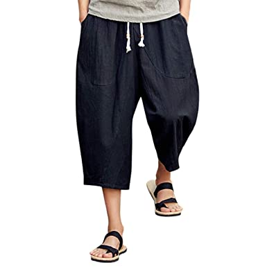 09518824eb Photno Men's Harem Pants Casual Baggy Cotton Linen Jogger Sports Wide Leg  Capri Pant Plus Size