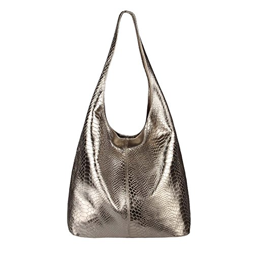 OBC Only-Beautiful-Couture - Bolso al hombro para mujer Negro Schwarz-Metallic ca.: 43x32x17 cm (BxHxT) Champagne (Schlange)