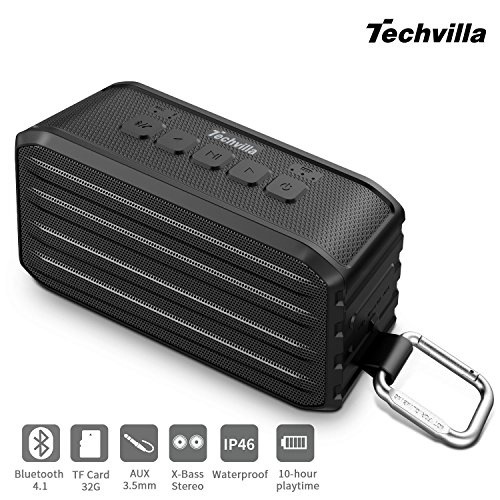 Portable Wireless Bluetooth Speakers, Techvilla Vigor1 Outdoor Bluetooth Speaker IPX6 Waterproof, Enhanced Bass, Built in Mic, 10 Hours Playtime  (Black)