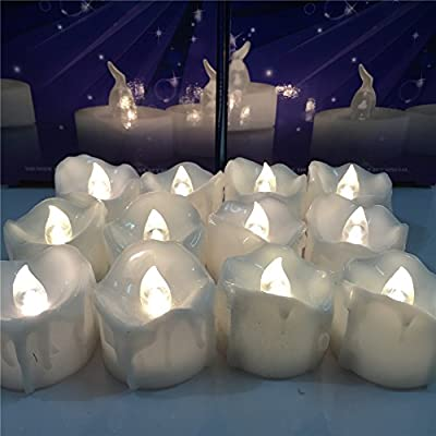 Youngerbaby Warm White Flickering Timing Function LED Tea Lights Flameless Candles,Wax Dripped Battery-operated LED Tealights (6 Hrs on 18 Hrs Off) for Wedding Christmas Outdoor Party Decoration