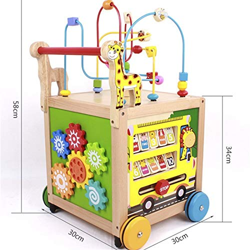 Techecho Puzzle Beads Labyrinth Roller Coaster Early Childhood Education Wooden Activity Cube 5 in 1 Center Multifunctional Wooden Four-Wheeled Push Walker Wooden Educational Toy by Techecho (Image #1)