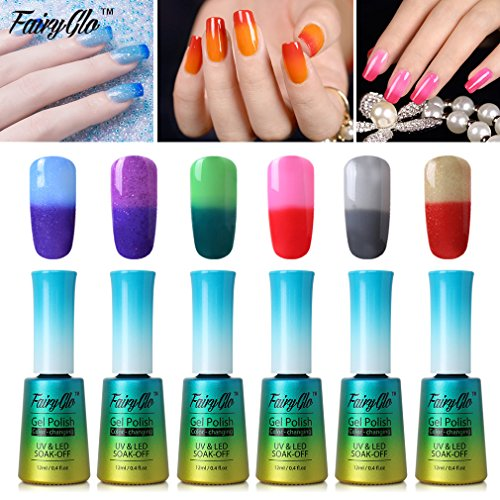 FairyGlo 6 PCS Thermal Color Changing Nail Polish UV LED Soa