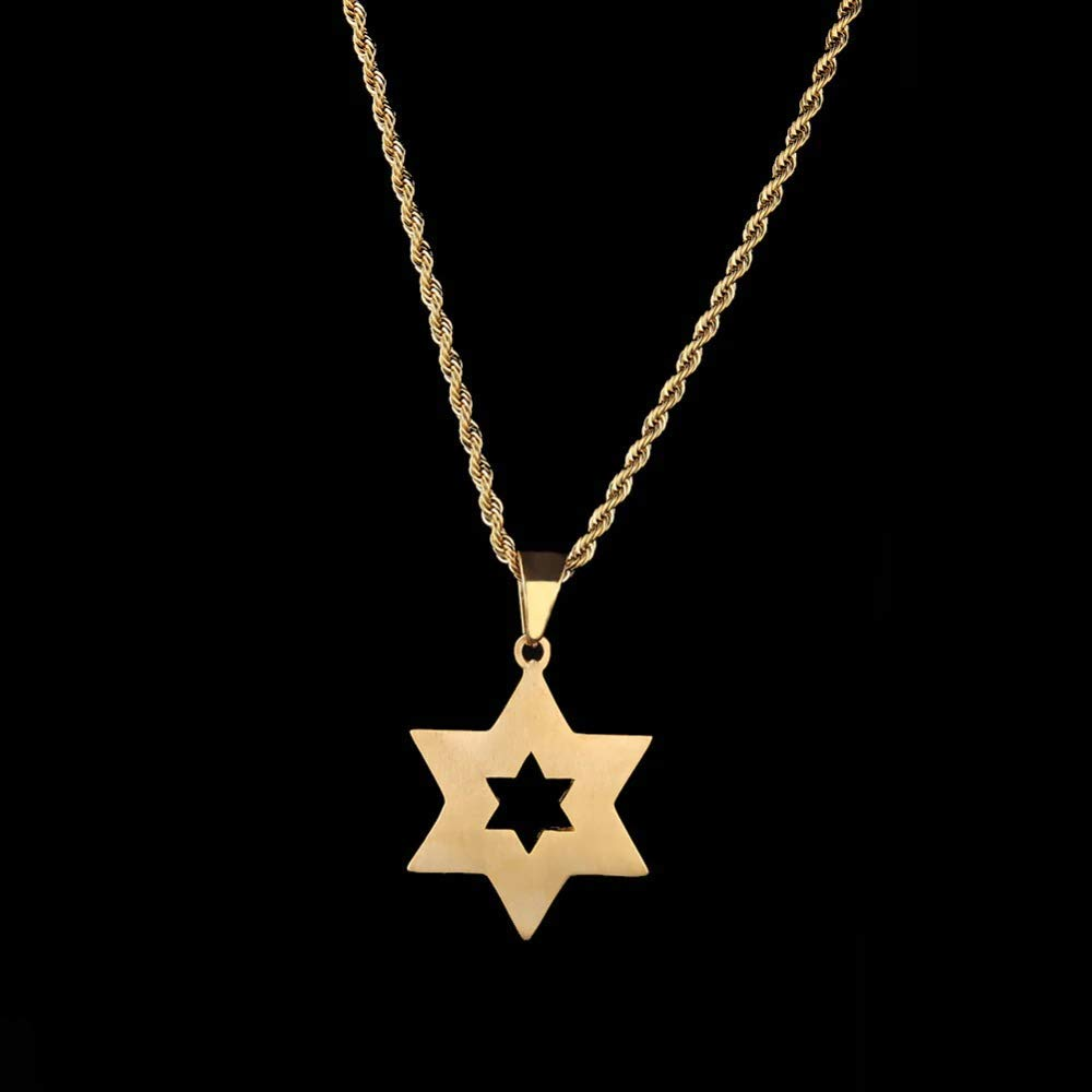 Nattaphol Hip Hop Bling Iced Out Rhinestone Gold Stainless Steel Jewish Star of David Hexagram Pendant Necklace for Men Rapper Jewelry
