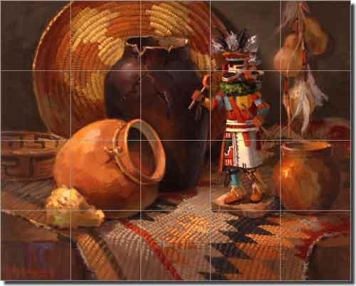 Indian Kachina (Indian Rug with Antelope Kachina by Maxine Johnston - Southwest Native American Ceramic Tile Mural 17