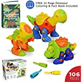 Dinosaur Toy with 3 Screw Drivers and Coloring Booklet by Ivy Step. STEM Dinosaur Toys for Educational learning, Boys 3-6 years