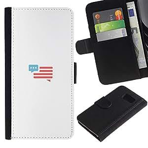 LASTONE PHONE CASE / Lujo Billetera de Cuero Caso del tirón Titular de la tarjeta Flip Carcasa Funda para Samsung Galaxy S6 SM-G920 / you have a message