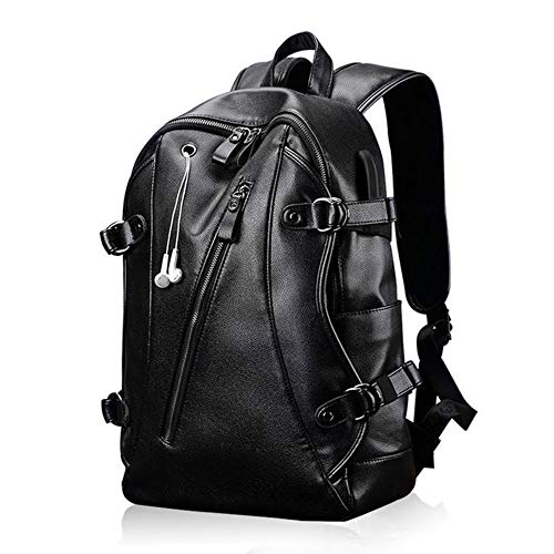 G&L Laptop Computer Backpack Mens Waterproof Pu Leather 15.6 Inch Laptop Bag with USB Charging Port for Travel/Business/College/Women/Men - Black ()