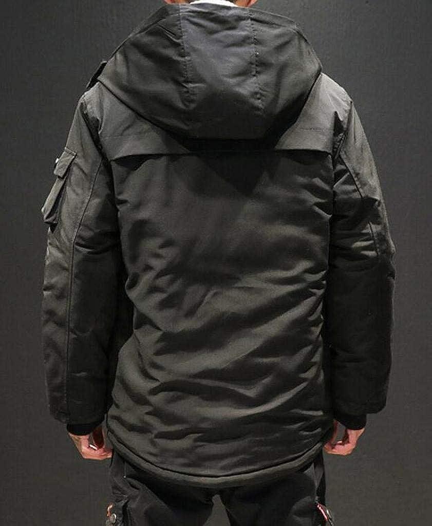 ARTFFEL Men Winter Plus Size Thicken Warm Solid Color Loose Hoodie Down Coat Jacket Overcoat