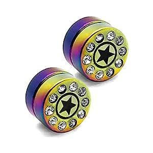 2 Plugs falso Imán pendientes magnético fake plug tunnel piercing 10 mm piedras de cristal strass no agujero de oido, color:arco iris