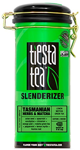 (Tiesta Tea Tasmanian Herbs & Matcha, Lemon Matcha Green Tea, 50 Servings, 5 Ounce Tin, Medium Caffeine, Loose Leaf Green Tea Slenderizer Blend, Non-GMO)
