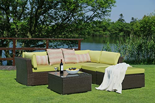 N&V Patio Furniture Set (6 Pieces) Modern Outdoor Furniture Sofas with Seat Cushions Pillows Tea Table Glass Top Lumbar Pad Blanket Fashion Couch Sets for Garden Backyard Pool (Green)