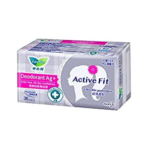 Laurier Active Fit Deodorant Ag+ Pantyliners, 36ct