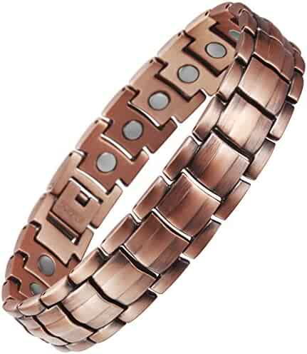 VITEROU Mens Magnetic Pure Copper Bracelet with Magnets for Arthritis Pain Relief,3500 Gauss
