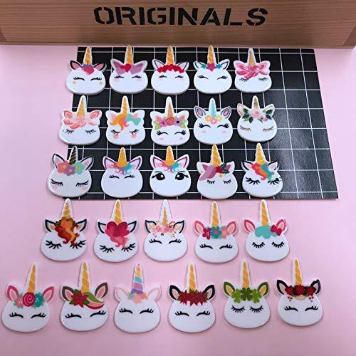 ZANAN Figurines & Miniatures!! 10pcs/lot Resin Adorable Cute Planar Unicorn for Crafts Making, Scrapbooking, DIY (About 2232mm) 1 PCs ()