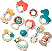 Baby Toys 3-6 Months Baby Rattle Teething Toys for Babies 0-6-12 Months 10PCS, Multisurface Texture Teethers w