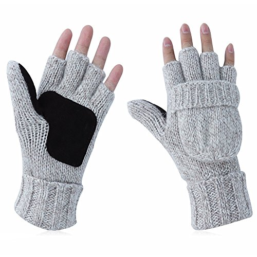 c233c82ad5da1 Kay Boya Winter Knit Wool Gloves Thicken Warm Gloves Fold Back Gloves for  Men & Women